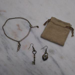 🆕Lock & Key Earrings & Angel Wing Bracelet Set